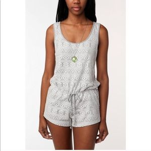 UO pins and needles white lace gray romper